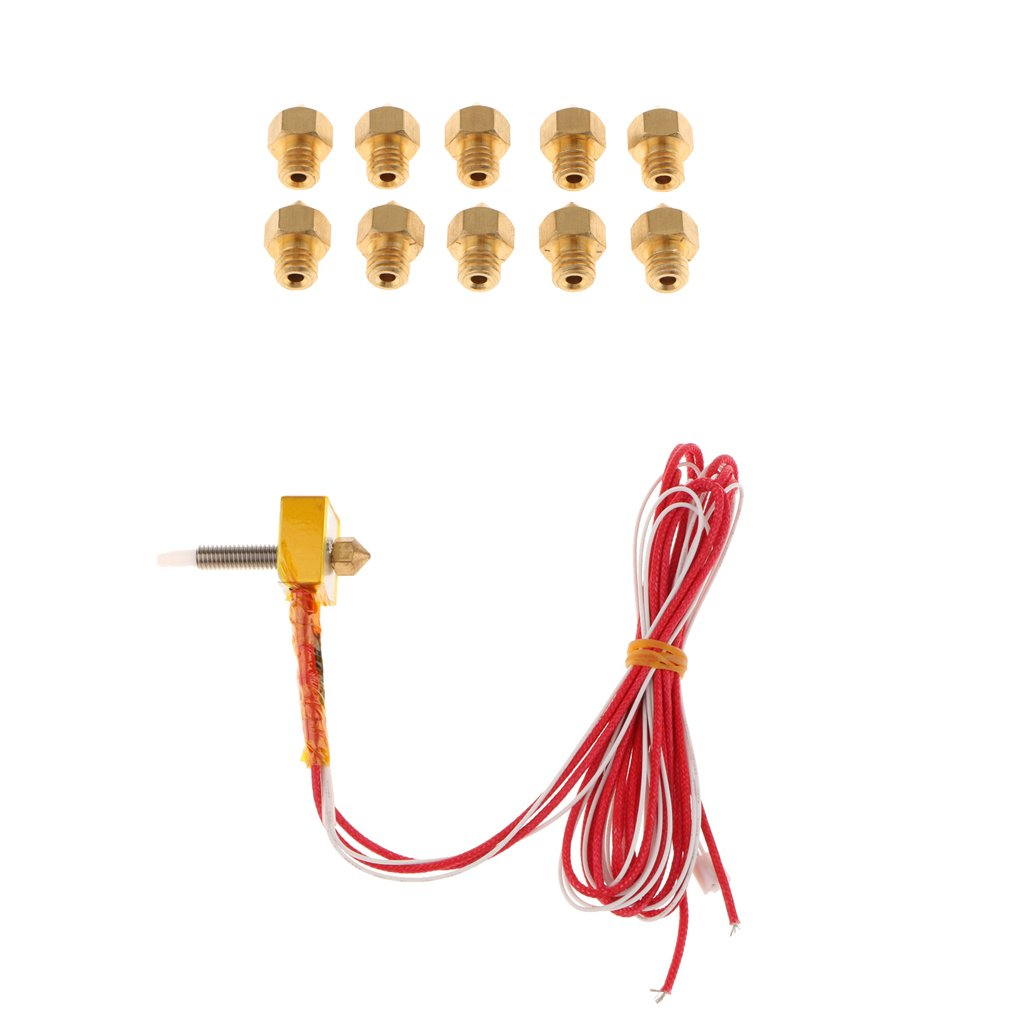 MonkeyJack 10 Piece 0.4mm Nozzle &1.75mm Supplies Hot End Kit Assembled Extruder for MK8