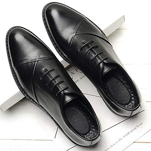 41 Black in Derby EU 496 Casual con 8 Abbigliamento in Formale UK Punta Cinturino 42 Scarpe Nere da Uomo Pelle 7 S8wSRqZx
