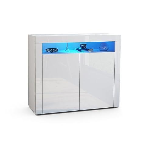 Vladon Cabinet Cupboard Valencia Carcass In White MattFront High  Gloss A White Gloss Cabinet91