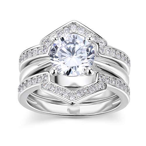 Lateefah Cubic Zirconia Wedding Ring Sets, 1.8 Carat Big Round Simulated Diamond, Bridal Rings Set for Women Size 6-9