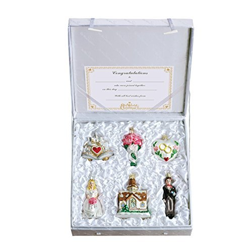 Christmas Hanging Ornament Set (Old World Christmas Wedding Collection Ornament Box Set)