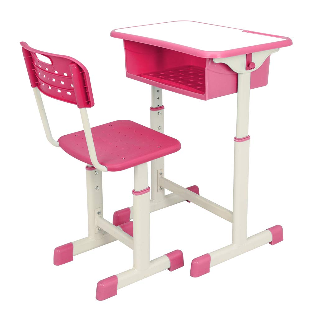 Pannow Student Desk and Chair Set, Height Adjustable Childrenâ€s Desk and Chair Workstation with Drawer and Hanging Hooks by Pannow