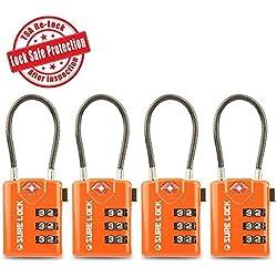 SURE LOCK TSA Compatible Travel Luggage Locks, Inspection Indicator, Easy Read Dials- 1, 2 & 4 Pack (4pack, Orange)