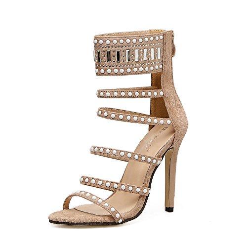 en de alto rocío toe caliente apricot moda de Los perforación sandalias de tacón tacón zapatos primavera la finas sandalias nuevos de de satén de ZHZNVX con wCxXqS7B4q