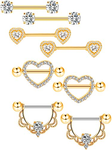 Tatuo 4 Pairs Stainless Steel Nipple Rings Tongue Ring Piercing Body Jewelry Barbell CZ Heart Shape Rings for Women Girls (Color 3) (Tongue Girl Ring)