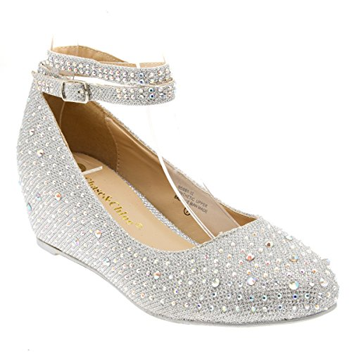 Chase & Chloe Womens 36-BOBBY12 Round Toe Med Low Heel Wedge Pump, Silver, 8.5 B (M) US