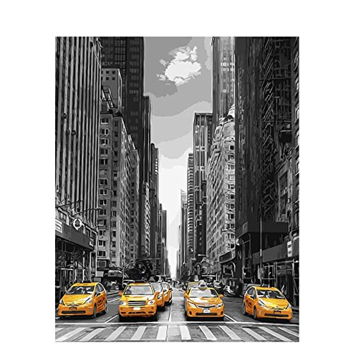 Modern City Car Wall Art for Living Room Kids DIY Oil Paint by Number Kits 100% Hand Painted Wall Decorations for Bedroom Office