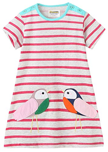 Fiream Grils Cotton Striped Dresses Shortsleeve Animal Appliques T-Shirt Casual Dresses 2-7T(Beige,5T/5-6YRS)