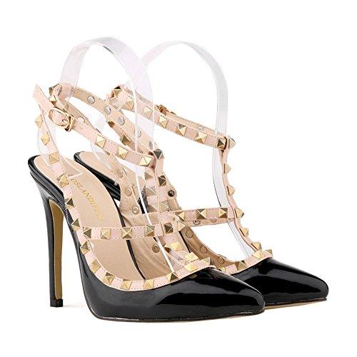 Loslandifen Womens Stiletto High Heels Rivet Ankle Strap Pumps Black vp5BeR