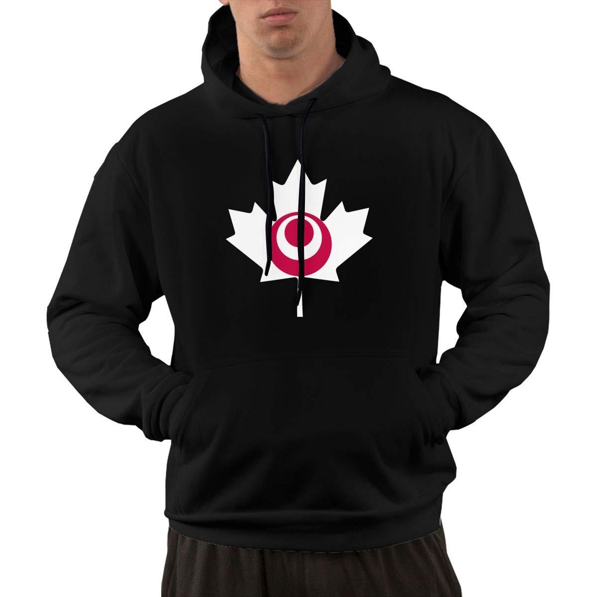 Okinawa Flag Canada Maple Leaf-1 Sweater with Kanga Pocket Mens Sports Fleece Hoodies