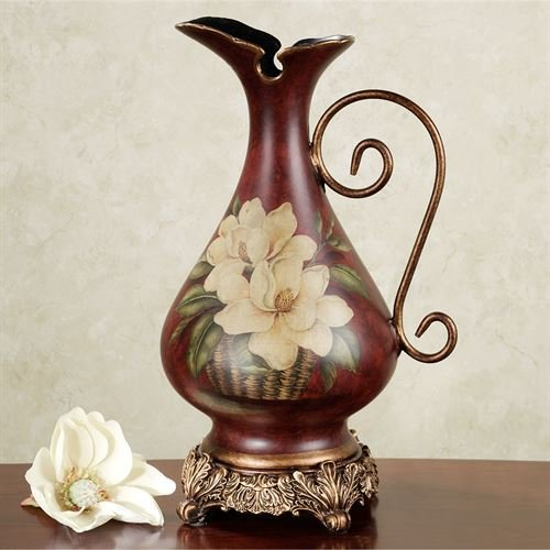 Touch of Class Magnolia Pitcher Vase Burgundy ()