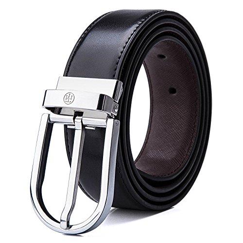 Belts Men/'s Dress Leather Belt Reversible Rotated Buckle Black 51 52 Waist Big