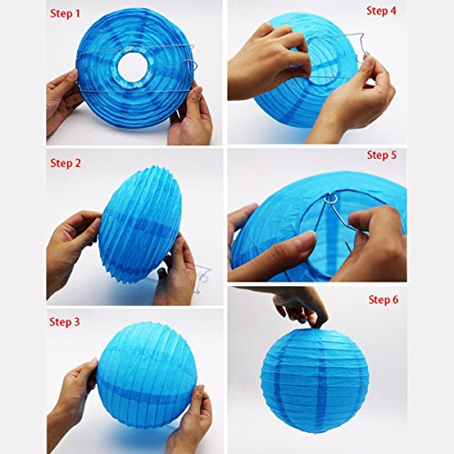 """LURICO 16 Pcs Colorful Paper Lanterns (Multicolor,Size of 4"""", 6"""", 8"""", 10"""") - Chinese/Japanese Paper Hanging Decorations Ball Lanterns Lamps for Home Decor, Parties, and Weddings by LURICO (Image #4)"""