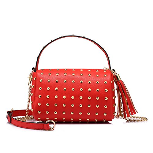 Shoulder Bag Small Side Purse Mini Clutch with Bling Rivets Red