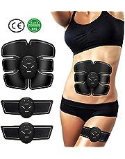 ENKEEO USB EMS Electrostimulateur Musculaire 8 Modes 10 Niveaux d'Intensité Ajustable CE & ROHS Stimulateur de Musculation Abdominale avec 10 Feuilles de Gel Supplémentaires pour Hommes Femmes