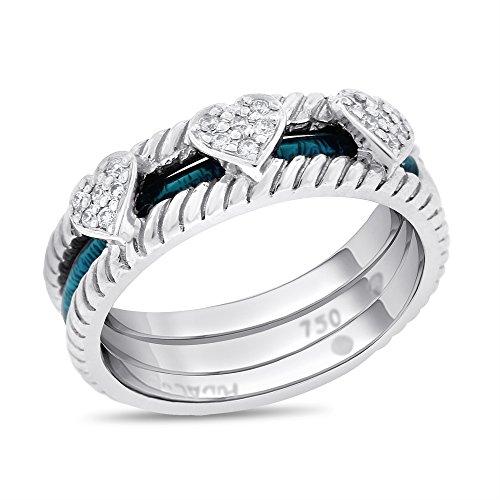 0.15 CT Hidalgo Green Enamel Triple Heart Diamond Wedding Band in Solid 18k White Gold