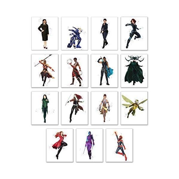 510IhQsuz6L Watercolor Avengers Girls Prints - Set of 15 (8x10 Inches) Glossy Comic MCU Wall Art Decor - Black Widow- Captain Marvel…