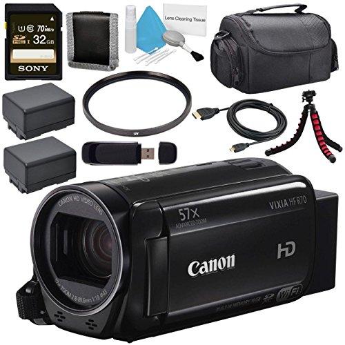 Canon 16GB VIXIA HF R70 Full HD Camcorder 1237C001 + BP-727 High Capacity Battery + Sony 32GB SDHC Card + Compact Camcorder Case + Flexible Tripod Bundle by Canon