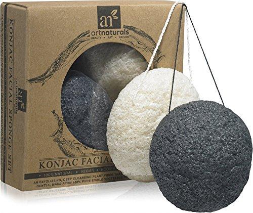 art-naturals-konjac-facial-sponge-set-2-pack-charcoal-black-natural-white100-natural-great-for-sensi