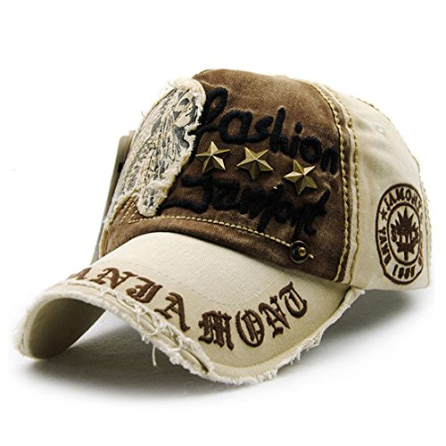 King Star Mens Distressed Vintage Cotton Washed Baseball Cap Snapback Trucker Hat Beige (Pigment Dyed Cap Twill Solid)