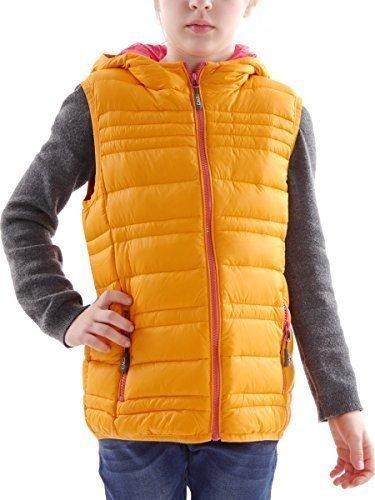 CMP Daunenweste Outdoorweste Steppweste Kapuze orange warm Taschen Gr. 128 3Z50145 8MroK