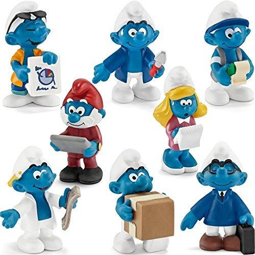 Schleich Smurf Figures Playset - 8 Office Smurfs Novelty 2015 - 20768-20775 by (Smurfs Figurine)