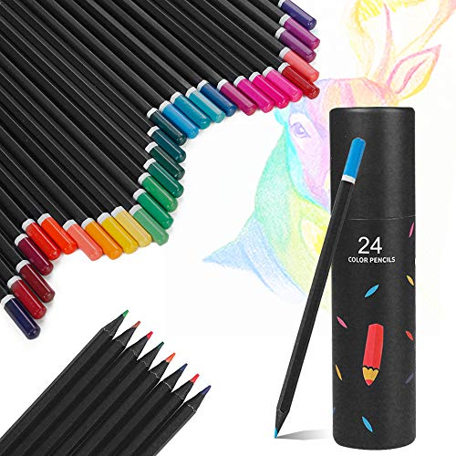 Touch Rich Colored Pencils Oil Based Coloring Set, Pre-sharpened Vibrant Colors Pencils for Adults Kids Drawing, Artist Sketching Painting (24 Colors)