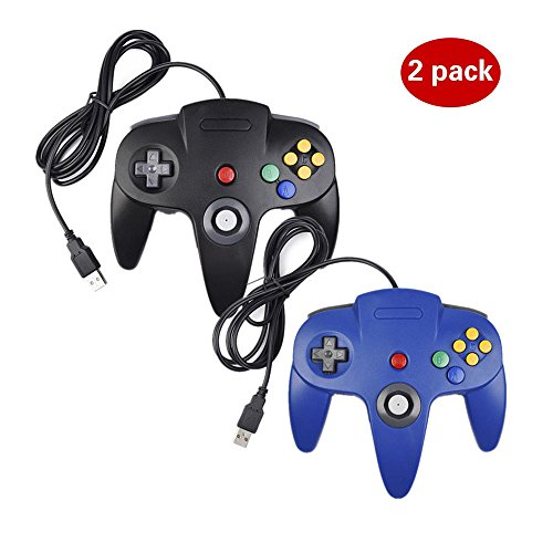 2 Pack USB Controller for Classic Nintendo 64, USB N64 Controller Console System controller Game Gaming Gamepad for Windows PC MAC Linux Android Raspberry Pi (1 Black 1 Blue)