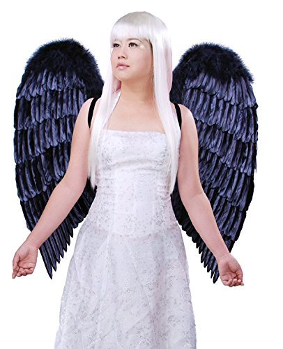 [FashionWings (TM) XL Wingspan Black Costume Feather Angel Wings & Halo] (Angel And Demon Costumes)