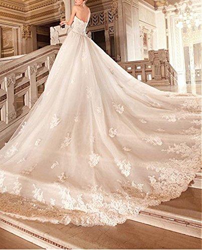 Da Perline Dressylady Con Il Abito Sposa Appliques Ballo Bianco Splendide Treno Da Pizzo Abito Tesoro PHffYqca