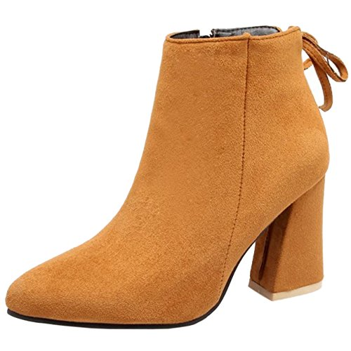 TAOFFEN Yellow Dress Toe Block Women High High Ankle Fashion Booties Pointed Heel ZO6Znrq