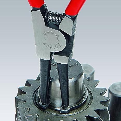 KNIPEX 46 11 A0 SB Sicherungsringzange f/ür Au/ßenringe auf Wellen schwarz atramentiert mit Kunststoff /überzogen 140 mm in SB-Verpackung