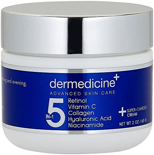 5 in 1 Retinol, Vitamin C, Collagen, Hyaluronic Acid and Niacinamide | Potent Face Cream which May Help Improve Appearance of Fine Lines and Wrinkles and Reduce Appearance of Dark Spots | 2 oz / 60 g