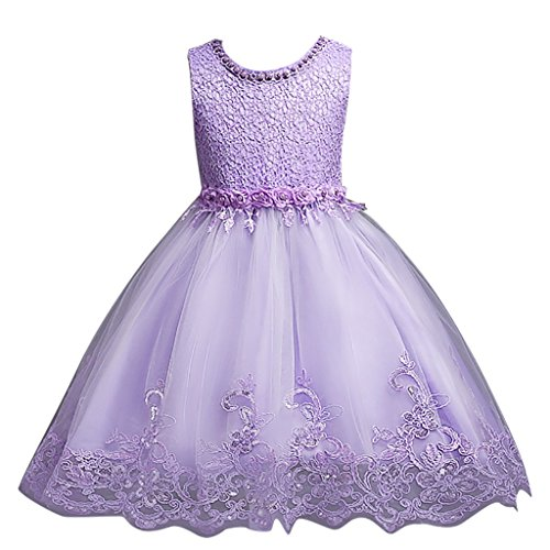 DreamHigh Flower Girl's Floral-Embroidered Pearl Embellished Evening Dress Up Purple - 6Y