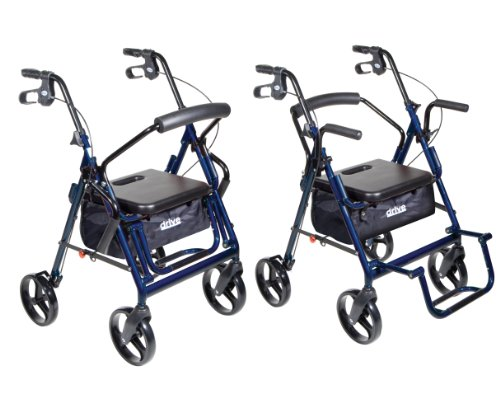 Drive Medical Duet Dual Function Transport Wheelchair Walker Rollator, Blue by Drive Medical (Image #2)