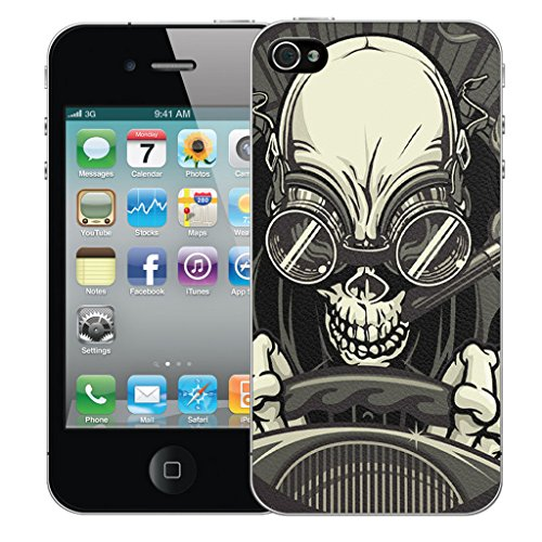 Mobile Case Mate iPhone 4 Silicone Coque couverture case cover Pare-chocs + STYLET - Driving Skull pattern (SILICON)