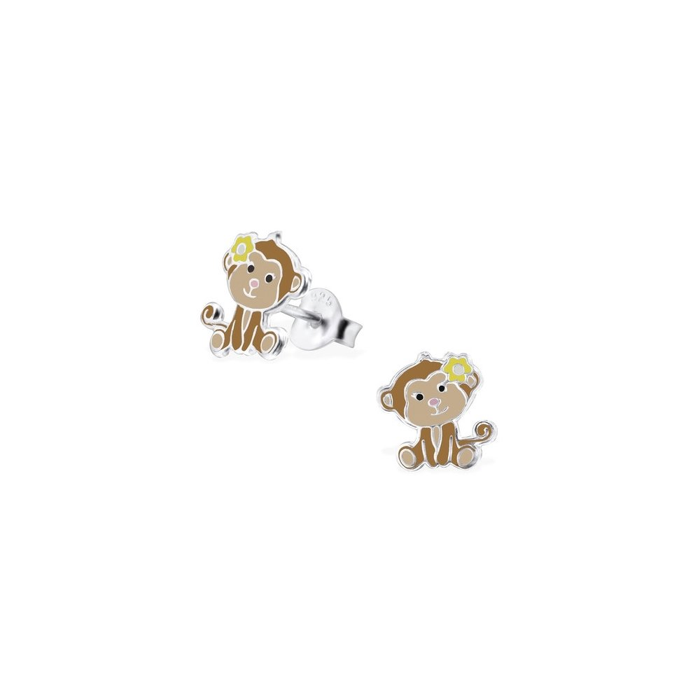Girls Monkey Colorful Ear Studs 925 Sterling Silver