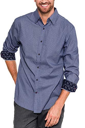 Retro Lounge - Men's Classic Fit Long-Sleeve Shirt/Mens Essentials Casual Shirts (Lt Blue/Nav, Large)