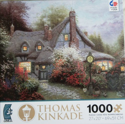 Thomas Kinkade Painter's of Light Sweetheart Cottage 1000 Piece Jigsaw Puzzle MADE IN -