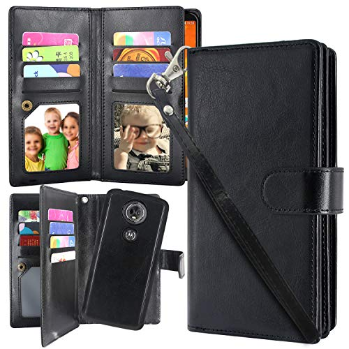 Moto E5 Plus Case, Moto E5 Supra Case,Harryshell 12 Card Slots Detachable Magnetic Wallet Case Shockproof PU Leather Flip Protective Cover Wrist Strap for Motorola Moto E Plus (5th Gen) (Black)