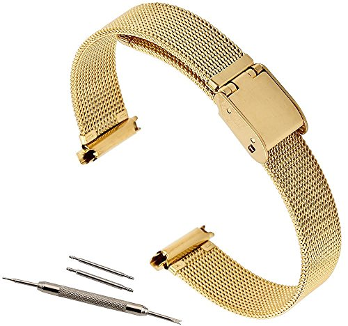 10-14 Adjustable Gold Mesh Solid Buckle deployant clasp closure Watch Band Gold Tone Ladies Fits Skagen and Pebble Time Round watches By United Watchbands ()