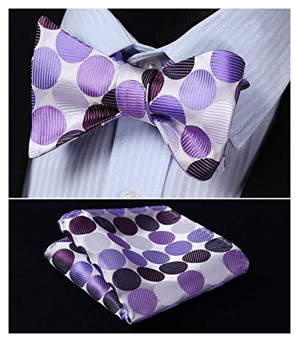 - Enmain Men's Dot Bowtie Jacquard Woven Party Self Bow Tie Set Purple
