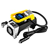 #5: rourlinge 12V DC Portable Air Compressor Pump, 150 PSI Car Digital Display Air Pump Tire Inflator with Preset Pressure Auto Shut Off Gauge and Emergency Light for Car Tyre, Motorcycle, Bicycle