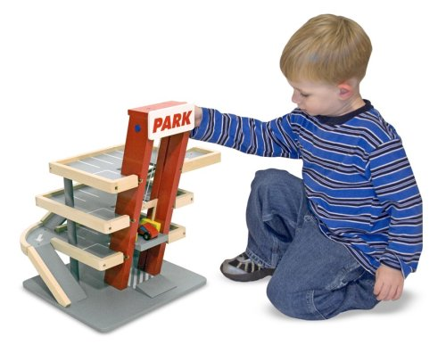 Melissa & Doug Deluxe Wooden Parking Garage Play Set (Garage Play Pretend)