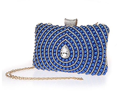 Femme Bleu Sac Sac Pochette Mariage de Bling à Main Soirée de AnKoee 1dqPq
