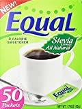 Equal STEVIA All Natural Zero Calorie Sweetener 50 Packets (Pack of 3)