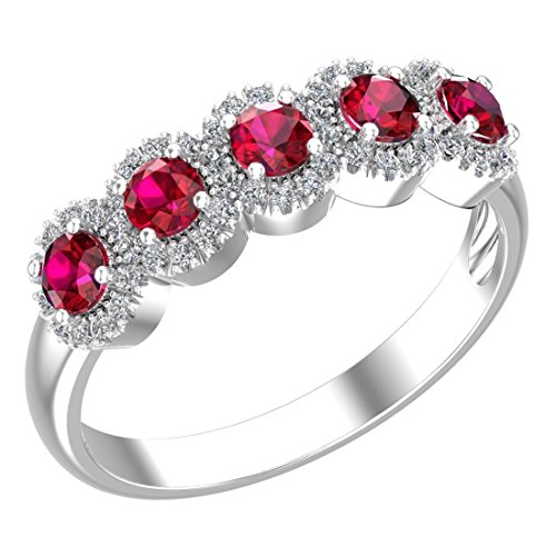 Belinda Jewelz 925 Sterling Silver White Cubic Zirconia Five Round Gemstone Sparkling CZ Engagement Wedding Band Womens Fashion Fine Accessory Jewelry Ring Rings, Created Red Ruby, Size 8