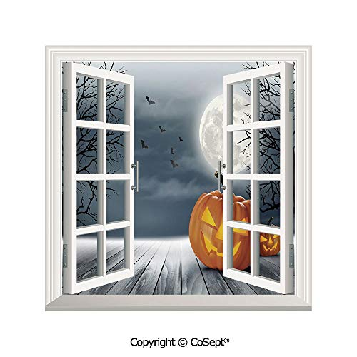 SCOXIXI Artificial Window Wall Applique Landscape Wall Decoration,Cold