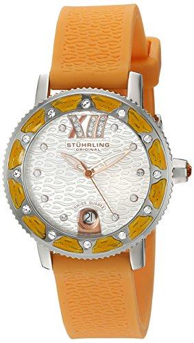 Stuhrling Original Women's 225R.1116F2 Nautical Regatta Marina Orange Luminous Date Watch with Swarovski Crystal Accents