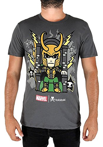 Wholesale Tokidoki Marvel Comics Loki Throne Anime Graphic Men's Grey T-Shirt Punkstar hot sale
